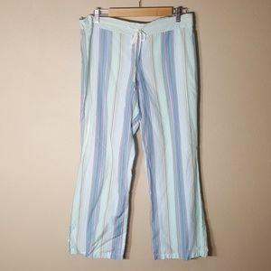 DKNY Cotton Striped Pajama Pant Crop | Size M